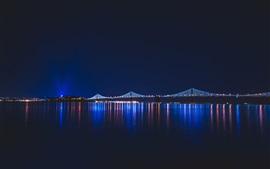 Preview wallpaper Night city, river, bridge, lights, illumination