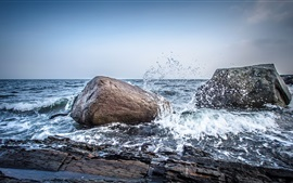 Preview wallpaper Norway, sea, stones, water splash