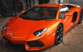 Preview wallpaper Orange Lamborghini sports car