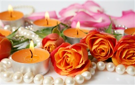 Preview wallpaper Orange roses and candles, jewelry
