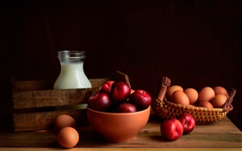 Preview wallpaper Plums, eggs, milk
