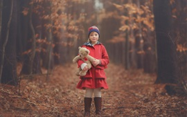 Preview wallpaper Red clothes little girl, child, teddy bear, autumn, forest