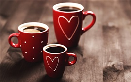 Preview wallpaper Red cups, coffee, love hearts