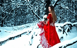 Red dress girl in winter, look back, rose, snow
