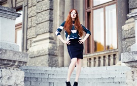 Preview wallpaper Red hair fashion girl, standing, stairs, pose