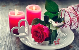 Red rose, candles, love hearts