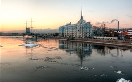 San Petersburgo, Rusia, río, ciudad, casas, invierno, nieve