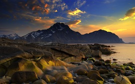 Sea, coast, stones, mountains, clouds, sunset