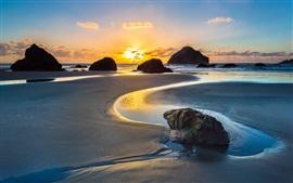 Sea, ocean, coast, beach, rocks, dawn, sunrise, Bandon, Oregon, USA