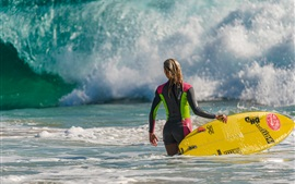 Sea wave, surfing girl, board