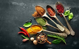 Preview wallpaper Seasoning, spices, pepper, spoon, nuts, leaves