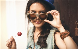 Preview wallpaper Smile girl, sunglass, lollipop