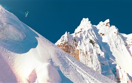 Preview wallpaper Snow mountain, snowboard, jump, extreme sports