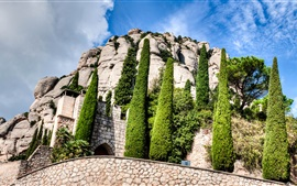 Preview wallpaper Spain, Montserrat, Catalonia, monastery, trees, clouds