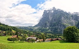 Switzerland, Grindelwald, mountains, grass, trees, village, clouds, sky
