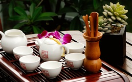 Preview wallpaper Tea ceremony, teapot, cups, still life