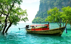 Preview wallpaper Thailand, fishing boat, trees, sea, mountain