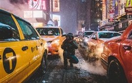 Preview wallpaper Times Square, New York, Manhattan, USA, city, street, winter, taxi, photography