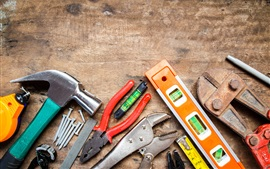 Preview wallpaper Tools collection, wood workbench