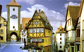 Preview wallpaper Travel to Germany, Rothenburg, Bayern, street, houses