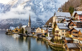 Travel to Hallstatt, Austria, mountains, alps, houses, fogs, trees, snow, winter