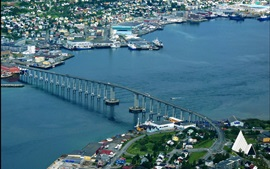Preview wallpaper Tromso, Norway, city, top view, bridge, river