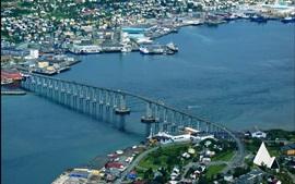 미리보기 배경 화면 트롬 소, 노르웨이, 도시, 상위 뷰, 다리, 강