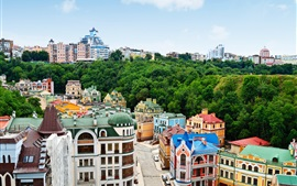 Ukraine, city, houses, buildings, trees