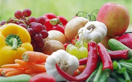 Preview wallpaper Vegetables and fruits, grapes, apples, carrots, peppers, onions, garlic