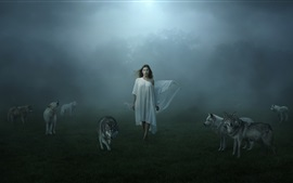 White dress girl and wolves, fog