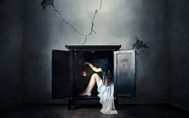 Preview wallpaper White dress girl sit in the fireplace, wall, creative picture