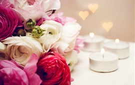 White pink red flowers, rose, candles, fire