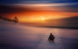 Preview wallpaper Winter, snow, morning, sunrise, sled, people