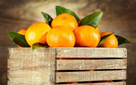 Preview wallpaper Wood box, oranges, fruit