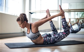 Preview wallpaper Workout girl, fitness, yoga, stretching, floor