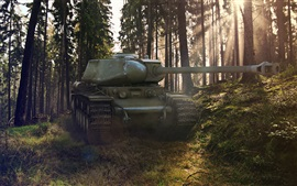 World of Tanks, forest, trees, sun rays