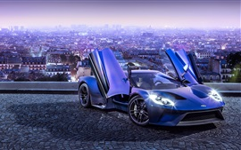 Preview wallpaper 2017 Ford GT blue supercar in the city