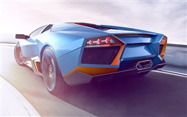 Preview wallpaper 2017 Lamborghini blue supercar rear view
