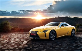 2017 Lexus LC 500 yellow supercar at sunset