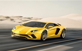 Preview wallpaper 2017 Yellow Lamborghini Aventador supercar at desert