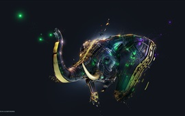 Preview wallpaper 3D abstract elephant, creative design