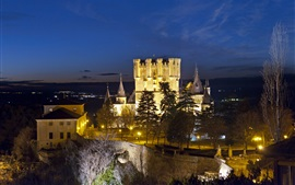 Alcazar Segovia, Spain, castle, lights, trees, dusk