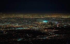 Preview wallpaper America, California, night city, lights, from top view