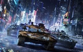 Preview wallpaper Armored Warfare Game, tank, China city, street, rain