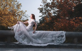 Preview wallpaper Asian girl, bride, white dress, pose