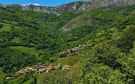Asturias, Spain, houses, mountains