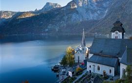 Áustria, Hallstatt, montanhas, lago, Alpes, cidade