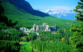 Preview wallpaper Banff National Park, mountains, trees, Springs Hotel, Canada