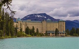 Banff Park, mountains, hotel, clouds, lake, Alberta, Canada