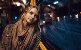 Preview wallpaper Blonde girl, blue eyes, window, rain